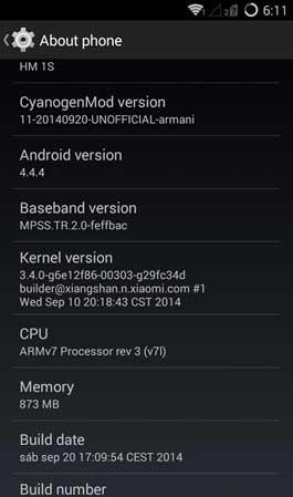 Android 4.4.4 Xiaomi Redmi 1S