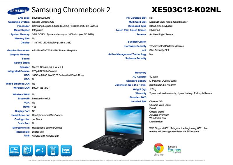 Spesifikasi Chromebook 2