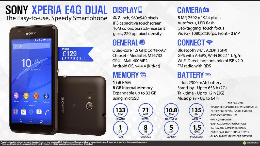 Bencmark Sony Xperia E4G Dual