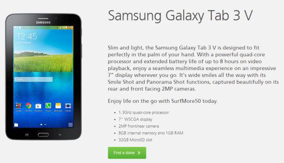 Promo Samsung Galaxy Tab 3V