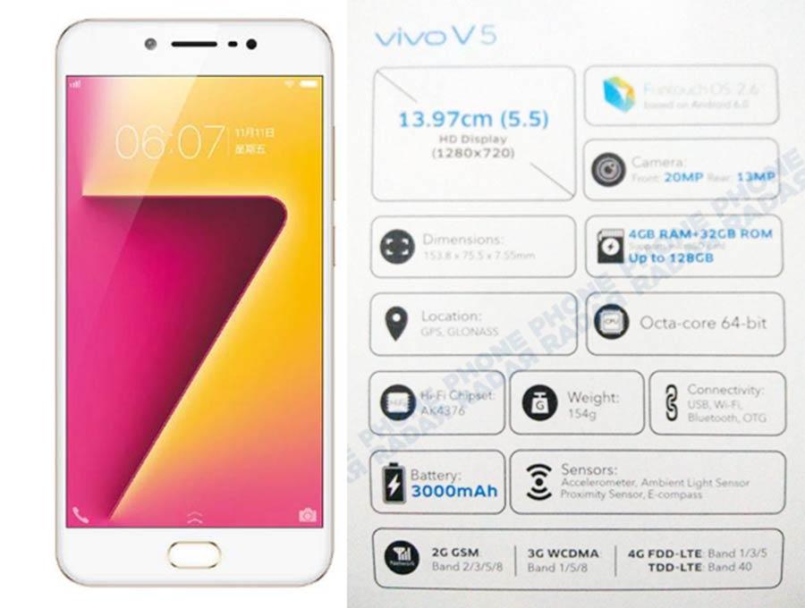Spesifikasi Vivo V5 Plus